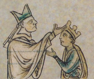 Henry's second coronation in 1220, drawn by Matthew Paris