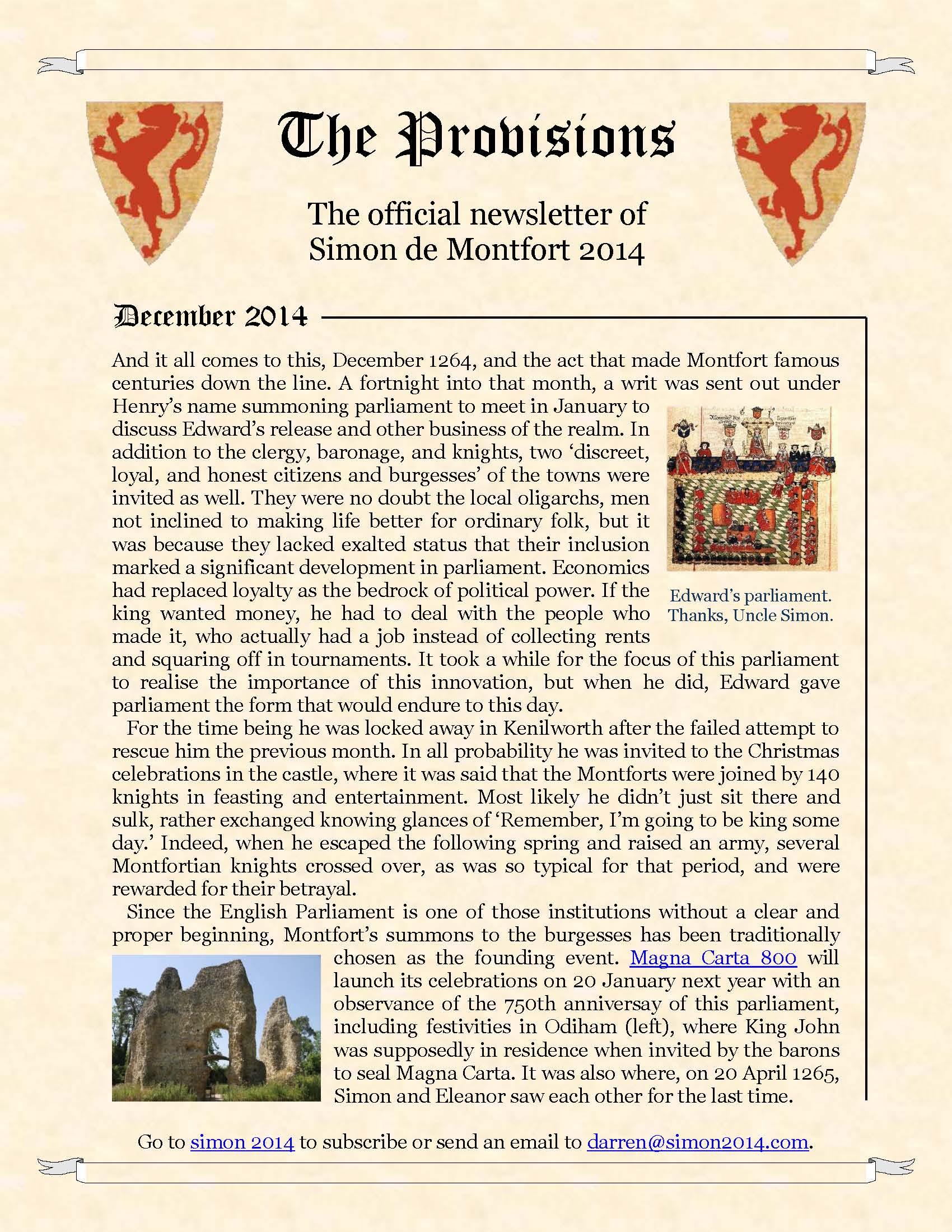 Provisions Newsletter December 2014
