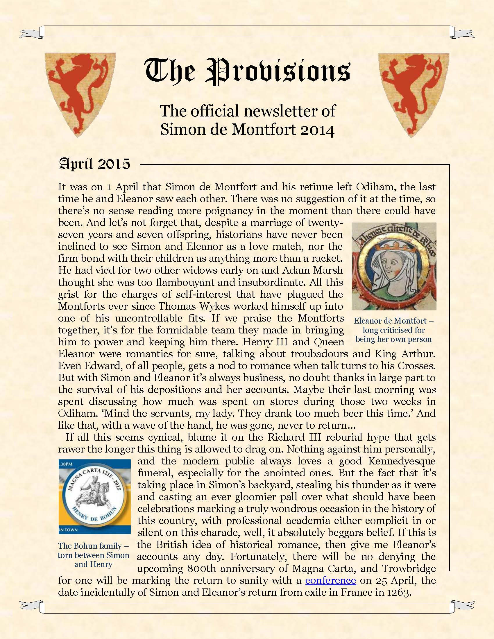 Provisions Newsletter April 2015