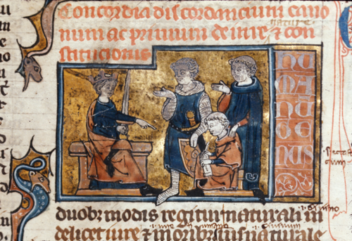 King dictating the law from the British Library